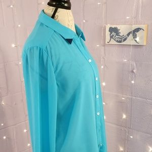 Olive&Oak Bright Blue Sheer Button Down